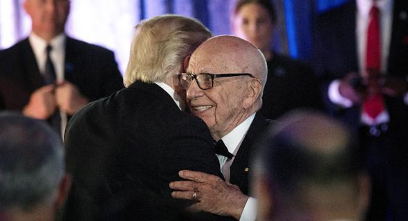 פנאי רופרט מרדוק ביחד עם דונלד טראמפ בימים הטובים, צילום: אי אף פי