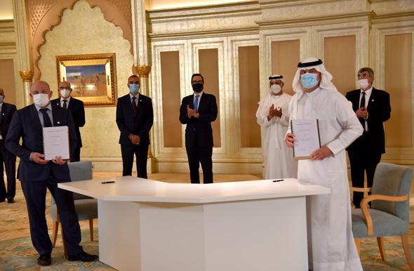 """טקס חתימת ההסכם על ייבוא נפט של קצא""""א מאיחוד האמירויות"""