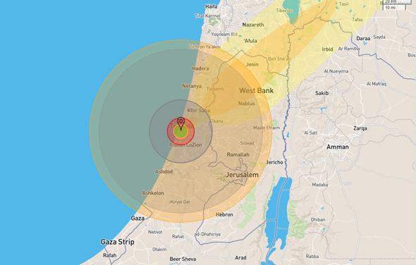 נקודת הפיצוץ: כיכר מירי אלוני באלנבי פינת שינקין. גם בירושלים יהיו נזקים, צילום: nuclearsecrecy