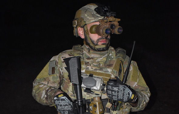 A U.S. soldier uses the new night-vision goggles. Photo: Elbit Systems