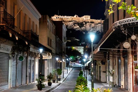 עוצר לילי באתונה, צילום: אי פי