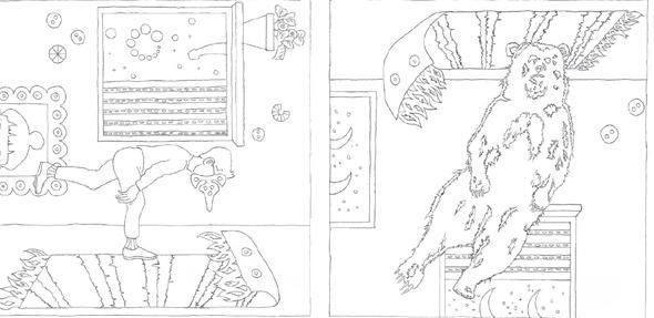 """איורים מחוברת הצביעה """"Lucy Is Sick"""" של רועי רוזן, צילומים: רועי רוזן"""