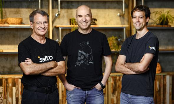 Salto.io co-founders Benny Schnaider (left), Rami Tamir (center) and Gil Hoffer. Photo: Doron Letzter