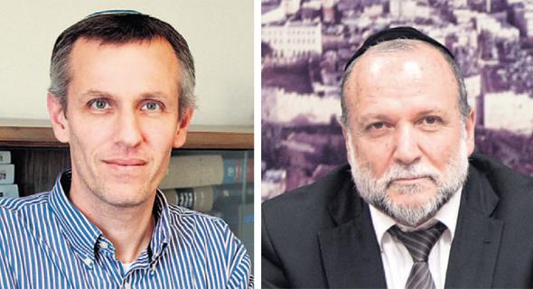 מימין: שר הבינוי יצחק כהן ויעקב קוינט. נדרשה יותר שקיפות