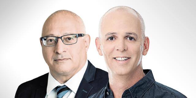 """מימין: מנכ""""ל ובעלים של אלטשולר שחם גמל ופנסיה יאיר לוינשטיין ומנכ""""ל משותף של מור השקעות יוסי לוי, צילום:  בועז צרפתי"""