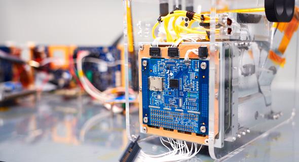 Intel's Myriad 2 Vision Processing Unit on the PhiSat-1. Photo: Tim Herman/Intel
