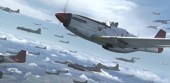"""מוסטנג מלווה מפציצים, מתוך הסרט """"זנבות אדומים"""", שהביא את סיפורה של טייסת שהורכבה מצוותים אפרו-אמריקאים"""