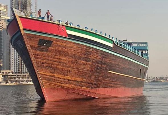 """סירת דאו מעץ """"עובייד"""" הכי גדולה בעולם, דובאי"""
