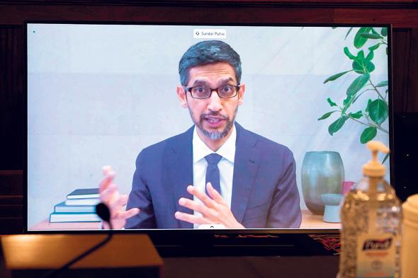 """מנכ""""ל גוגל סונדר פיצ'אי בשימוע המקוון שהתקיים בשבוע שעבר בקונגרס האמריקאי"""