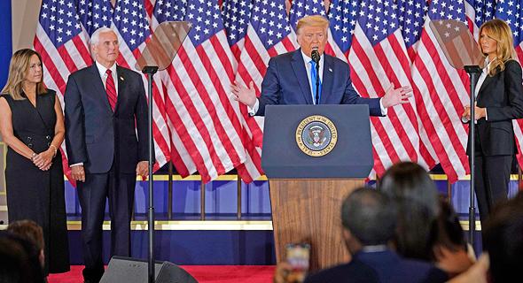 דונלד טראמפ מייק פנס נאום ניצחון מוקדם בחירות לנשיאות 2020, צילום: איי פי