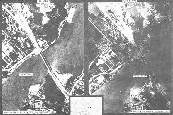 מימין: צילום אווירי של הגשר לאחר ההתקפה, ולפניה. שימו לב שהגשר אמנם כהה יותר, אך בהחלט עומד במקומו