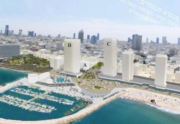 תוכנית סכימתית של כיכר אתרים מכיוון הים