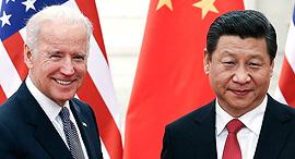 """מימין נשיא ארה""""ב ג'ו ביידן ונשיא סין שי ג'ינפינג, צילום: אם סי טי"""