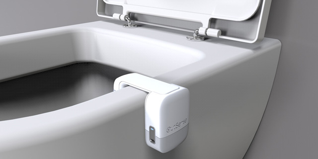 The OutSense device can easily clip onto any toilet bowl. Photo: OutSense