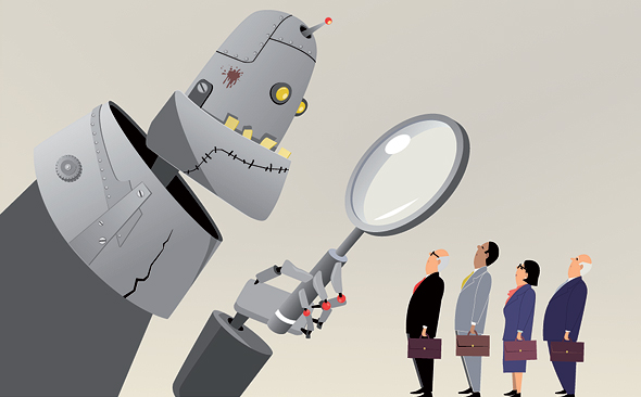 A robot sorting through job applicants. Photo: Shutterstock