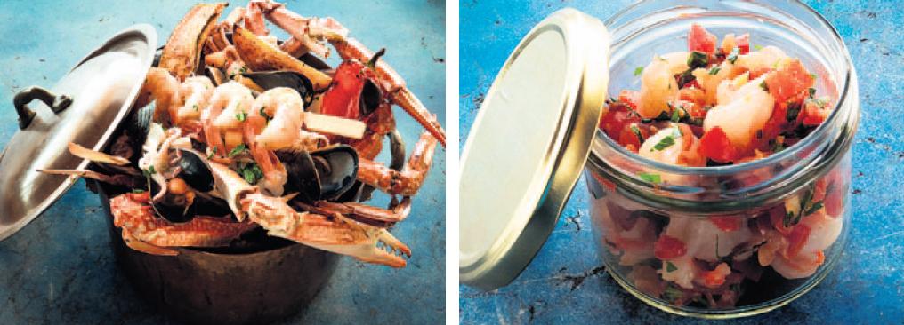 """משלוחים של """"מאנטה ריי"""", מימין: סביצ'ה אינטיאס וסיר פירות ים. יימשכו גם אחרי הסגר"""