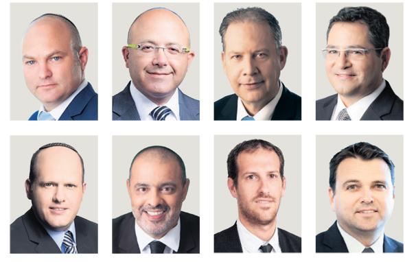 מימין למעלה: רונן עדיני, אילן בומבך, אמיר דולב, אשי אנגלמן, אסף קליין, שי גליקמן, אופיר צברי, אייל אייכל