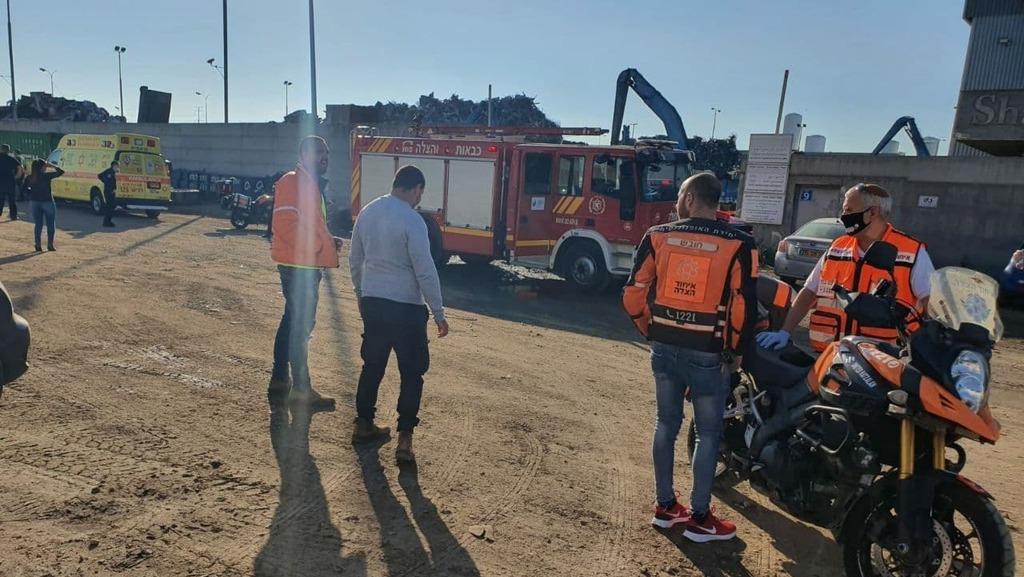 זירת התאונה במפעל באשדוד, צילום: איחוד הצלה