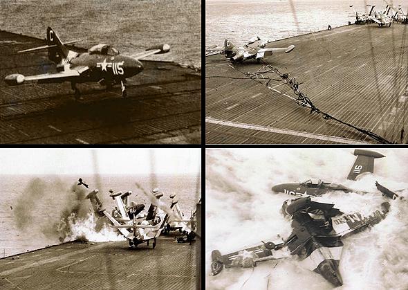 פנתר שהגיע מהר מדי לנחיתה, ומתנגש בליין פנתרים בקצה האוניה