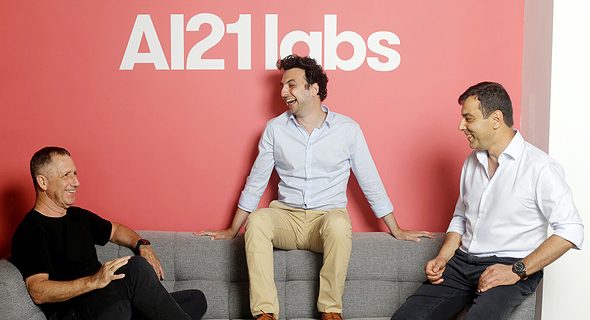 AI21 Labs founders Amnon Shashua (from right), Ori Goshen and Yoav Shoham. Photo: Courtesy