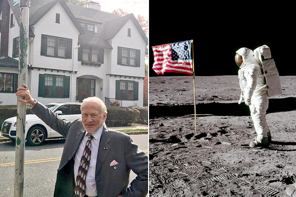 באז אולדרין על רקע הבית ובנחיתה על הירח