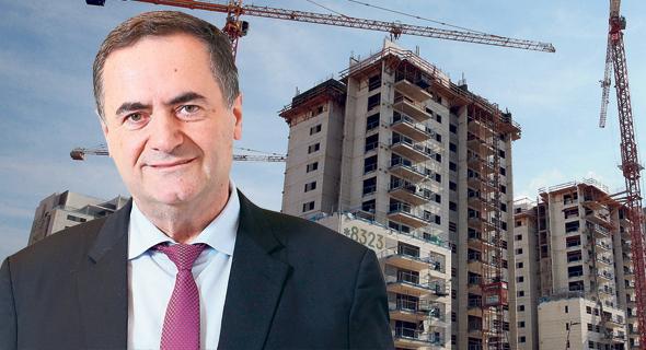 שר האוצר ישראל כץ ברקע בניינים ב בנייה , צילום: אלכס קולומויסקי, אוראל כהן