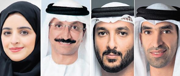 Participants in the Israel-Dubai Conference (R to L): Dr. Thani bin Ahmed Al Zeyoudi, Abdullah ben Tuk Al-Ameri, Sultan Ahmed Bin Sulyem and Sheikha Abdulla Al Nuaimi. Photo: Courtesy