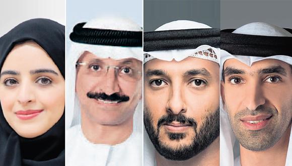 Thani bin Ahmed Al Zeyoudi, Abdullah ben Tuk Al-Ameri, Sultan Ahmed Bin Sulyem and Sheikha Abdulla A