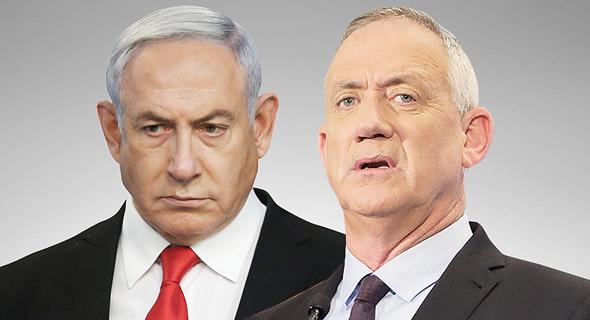 מימין שר הביטחון בני גנץ וראש הממשלה בנימין נתניהו, צילומים: אלכס קולומויסקי, דנה קופל
