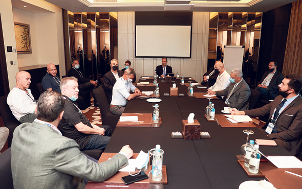 Israeli businesspeople and their Emirati counterparts discuss ways to conduct business. Photo: Orel Cohen