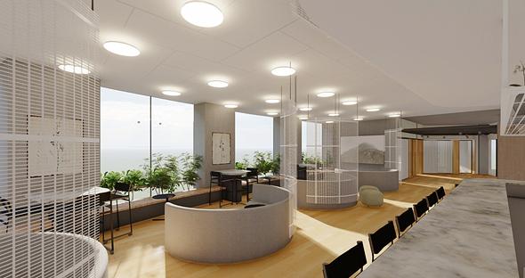 """הדמיית מרכז החדשנות והיזמות הרפואית בשת""""פ עם איכילוב רשת ומתחמי העבודה מיקסר"""