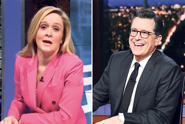 סטיבן קולבר וסמנתה בי. המירו את החמידות לחריפות, ונהפכו לפוליטיים ולוחמניים במיוחד, צילום: Scott Kowalchyk, NBC