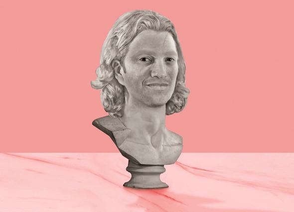 An Illustrated bust of WeWork co-founder Adam Neumann.