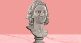 An Illustrated bust of WeWork co-founder Adam Neumann