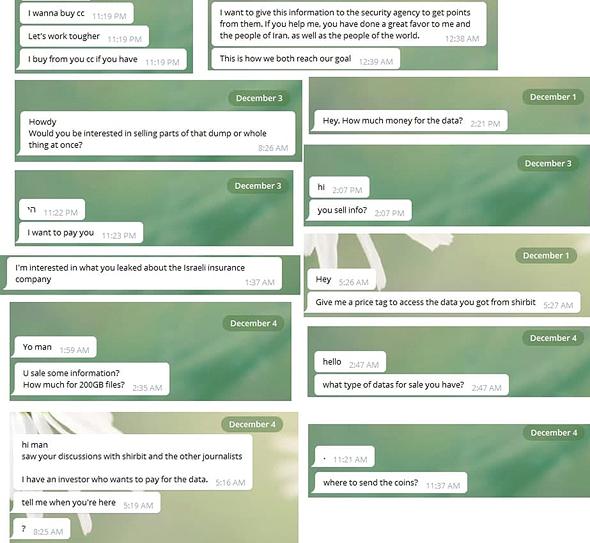 שיחה מתוך ערוץ הטלגרם של ההאקרים שפרצו לשירביט