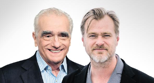 מימין: הבמאים כריסטופר נולאן ומרטין סקורסזה. בין ביקורת על היעדר היגיון כלכלי לאימוץ הכסף הגדול