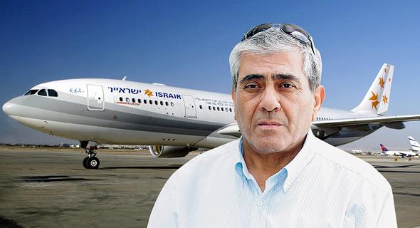 יגאל דמרי על רקע מטוס ישראייר, צילום: אוראל כהן, יוסי צבקר