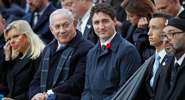 מימין מלך מרוקו מוחמד השישי ראש ממשלת קנדה ג'סטין טרודו וראש ממשלת ישראל בנימין נתניהו, צילום: אי פי איי