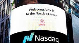 """הנפקה airbnb בורסה נאסד""""ק ניו יורק, צילום: אי פי איי"""