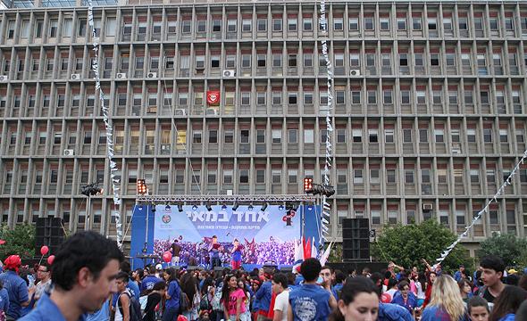 חגיגות האחד במאי על רקע המבנה האיקוני של בית הוועד הפועל