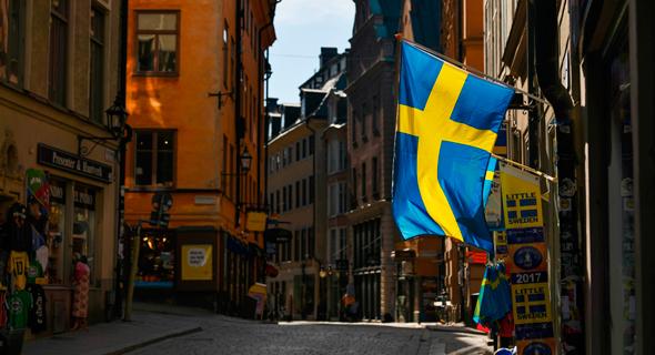 דגל שבדיה בבירה שטוקהולם