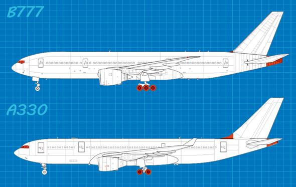 מטוסי שתי החברות 3: לבואינג יש יותר גלגלים, גוף ארוך יותר ובסיס זנב אחר, רואים?