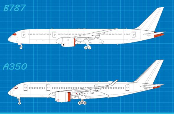 מטוסי שתי החברות 2: שימו לב לצורת מפלט המנוע, חתך חלון הקוקפיט, בסיס הזנב ואורך הגוף מאחוריו
