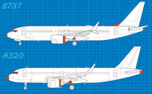 מטוסי שתי החברות 1: שימו לב להבדלים בבסיס הזנב, צורת חלון הקוקפיט, וחיפוי הגלגלים באיירבוס. בבואינג 737 הגלגלים לא מכוסים לחלוטין, וחשופים תוך כדי טיסה