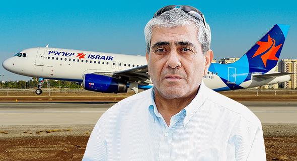יגאל דמרי על רקע מטוס ישראייר