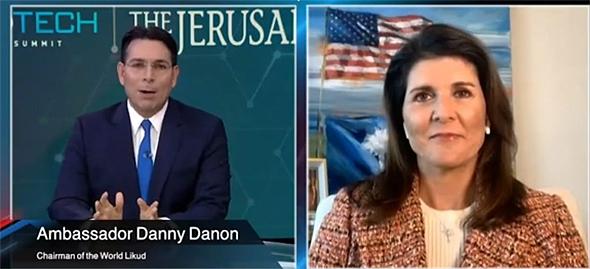 Danny Danon and Nikki Haley speaking at DiploTech Global Summit. Photo: DiploTech Global Summit/YouTube