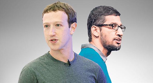 """מימין מנכ""""ל גוגל סונדר פיצ'אי ומייסד פייסבוק מארק צוקרברג, צילום: בלומברג, אי פי איי"""