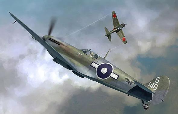 ספיטפייר בריטי וזירו יפני בקרב תמרון הדוק. שני המטוסים זריזים מאוד, אך הטייס היפני אגרסיבי בהרבה