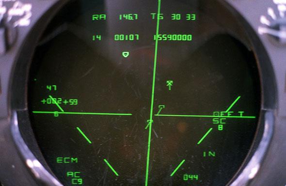 """מטרה על מסך מכ""""מ של F14, צילום: USN"""