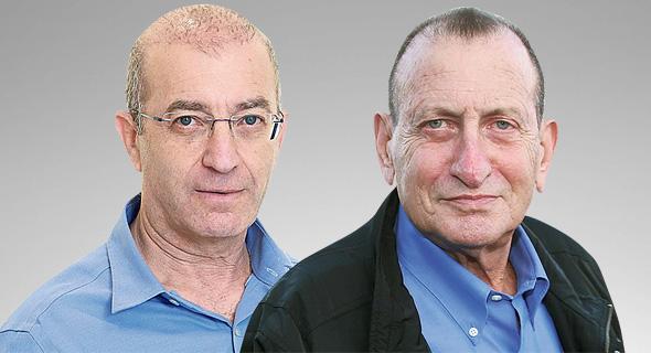 """ראש עיריית ת""""א רון חולדאי (מימין) ומנכ""""ל הביטוח הלאומי מאיר שפיגלר. הצעירים נפגעו יותר, צילום: יריב כץ, דנה קופל"""
